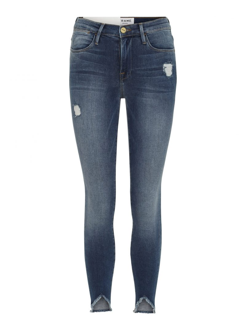 frame denim le high skinny triangle hem