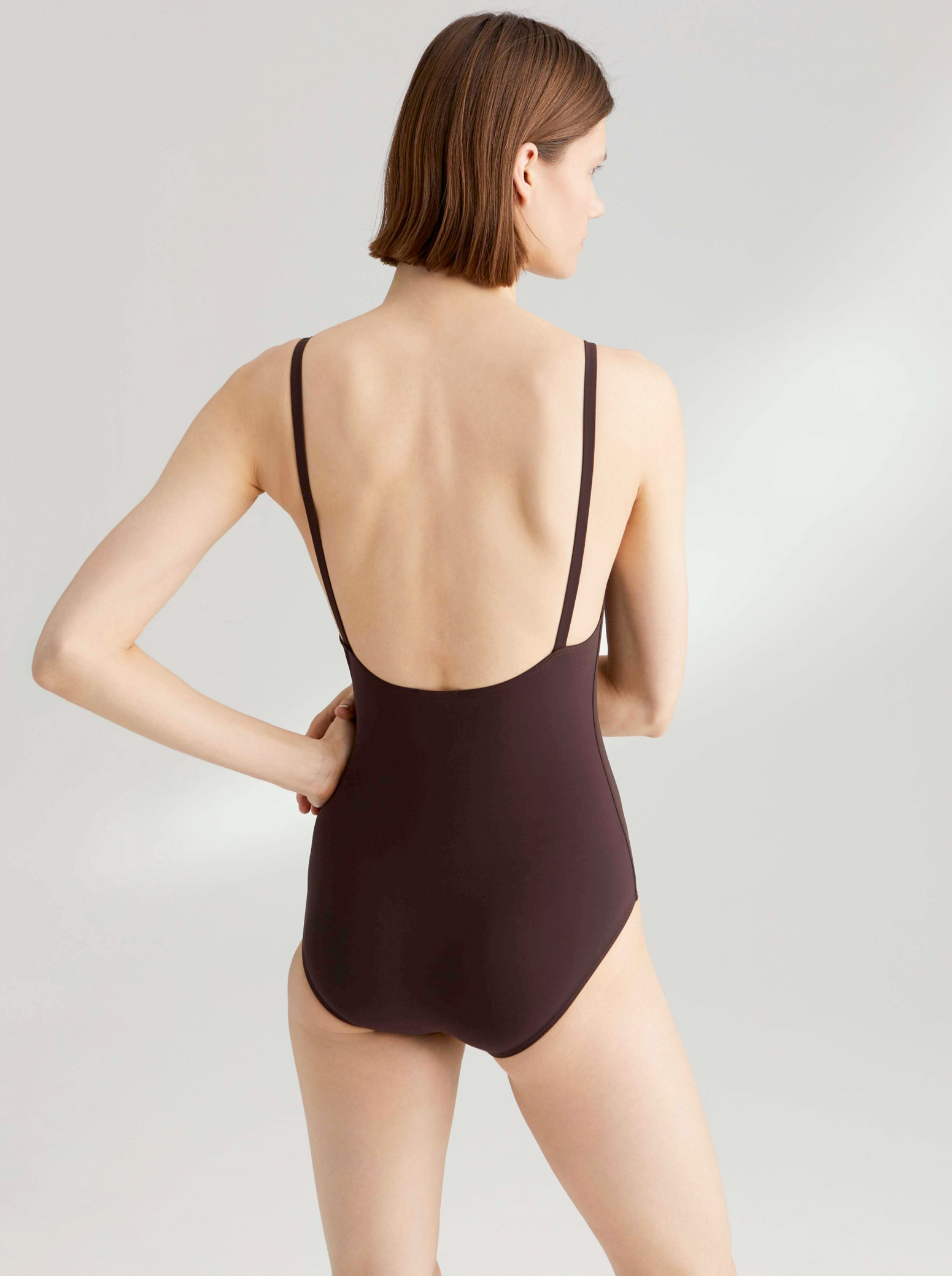toteme melissa swimsuit dark brown